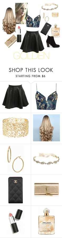 """Golden"" by mram1711 ❤ liked on Polyvore featuring Pilot, Zimmermann, Charlotte Russe, WigYouUp, Bony Levy, Marchesa, Chanel, Yves Saint Laurent, Sigma Beauty and Sarah Jessica Parker"