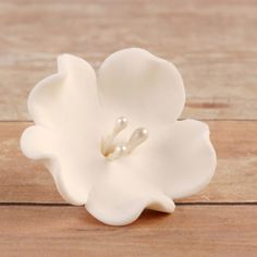 White Gumpaste Fruit Blossoms cake toppers and cupcake toppers perfect for cake decorating rolled fondant cakes. | www.CaljavaOnline.com #caljava #sugarflower