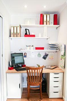 Trendy Home Office Nook Ikea Storage Ideas Closet Desk, Closet Office, Office Nook, Home Office Space, Home Office Design, Home Office Decor, House Design, Home Decor, Red Office