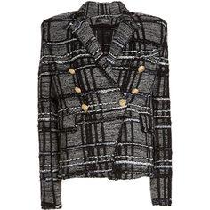 Balmain Blazer ($1,850) ❤ liked on Polyvore featuring outerwear, jackets, blazers, grey, grey blazer, balmain, grey jacket, gray blazer and blazer jacket