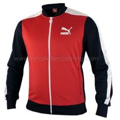 Puma Archive T7 Baseball Tracksuit Top Track Jacket TT Red Navy Blue - Mens - 560143-02