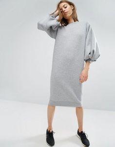 Vestido de punto con mangas estilo globo de ASOS WHITE