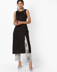 Buy AVAASA SET Women Black & Grey Sleeveless Kurta with Printed Pants   AJIO