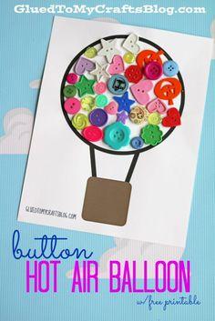 Button Hot Air Balloon Kid Craft Idea w/free printable template