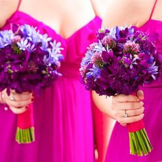 good example Purple Bridesmaid Bouquets - mix in some greenery
