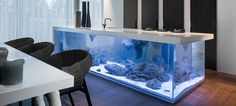 Highly impractical but very inventive aquarium island for a kitchen. The countertop raises for access to the interior and all of the plumbing/filtering mechanisms are strategically hidden.