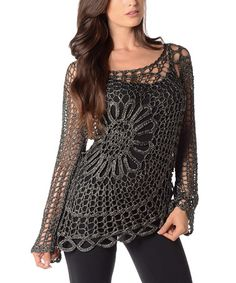Another great find on #zulily! Black Sheer Crochet Sweater - Plus #zulilyfinds