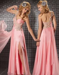 (Excuse the terrible model) Blush Silk Chiffon Embellished Sweetheart One Shoulder Empire Waist Prom Dress - Unique Vintage - Homecoming Dresses, Pinup & Prom Dresses. Vintage Homecoming Dresses, Unique Prom Dresses, Pink Prom Dresses, Lovely Dresses, Beautiful Gowns, Dresses For Sale, Formal Dresses, Wedding Dresses, Dress Prom