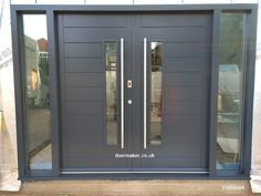grey contemporary double doors grey