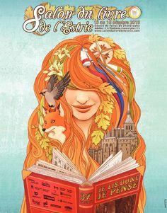 Jusqu'à dimanche, c'est le Salon du livre de l'Estrie ! Centre, Branding, Visionary Art, Mystic, Canada, Princess Zelda, Bookcases, Illustration, Posters