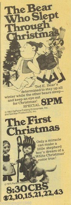 1979 Bear Who Slept Through Christmas The First Christmas CBS tv guide Ad Promo