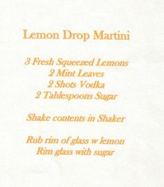 Oprah's Lemon Drop Martini | Oprah's Recipe for a LEMON DROP MARTINI | ~ Happy Hour Beverages ~
