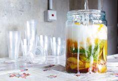Den Orangensaft in Eiswürfelschalen verteilen und 5-6Stunden gefrieren lassen.Pfirsiche und Nektarinen waschen, halbieren, entsteinenund das Fruchtfleisch in schmale Spalten schneiden. ...
