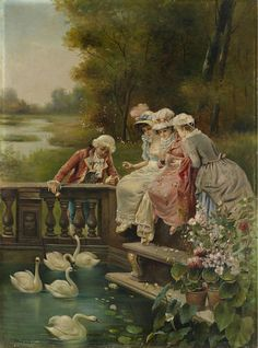 A lovely print with ladies and swans - Susan