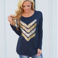 "❗️LAST ONE❗️Small Chevron Sequin Long Sleeve Top Navy long sleeve top with gold and silver chevron sequin print on front. Lightweight and comfortable material - 65% Polyester & 35% Rayon.  Sizing: Small: 34.7"" Bust, 26.4"" Length, 13.8"" Shoulder, 21.3"" Sleeve Medium:  36.2"" Bust, 26.7"" Length, 14.2"" Shoulder, 21.7"" Sleeve  ❗️PRICE IS FIRM UNLESS BUNDLED❗️ BOUTIQUE Tops Tees - Long Sleeve"
