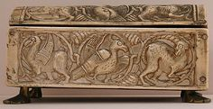 Box,11th century. Italy,Sicily.  Ivory,carved and incised.