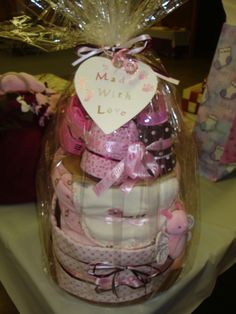 Diaper Cake I made for my sister's baby shower
