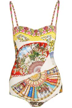 DOLCE & GABBANA Printed Underwired Swimsuit. #dolcegabbana #cloth #swimsuit