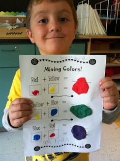 Art Room Primary Colors and Rainbows! - great idea for our friends that have sensory needs, have them mix colors using model magic Kindergarten Colors, Kindergarten Art Lessons, Preschool Colors, Preschool Art, Color Unit, Color Secundario, Colour Chart, First Grade Art, Primary And Secondary Colors