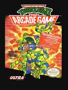 """Teenage Mutant Ninja Turtles II: The Arcade Game"" - Nintendo Entertainment System - Best TMNT-adaptation for the NES Vintage Video Games, Classic Video Games, Retro Video Games, Retro Games, Vintage Games, Teenage Mutant Ninja Turtles, Ninja Turtles 2, Teenage Ninja, Nes Games"