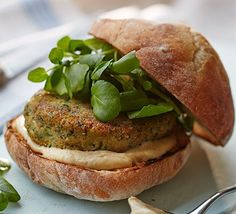 Whizz up chickpeas with garlic, spices and herbs to make delicious vegetarian patties for lunch or dinner