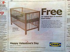 2月14日の広告。9ヶ月後(11月14日)に生まれてくる赤ちゃん用のベビーベッドを無料でプレゼント!「そこそこの値がするベビーベッドが今日子供を仕込んだらタダになるので、是非子作りに励んでください!」世界の秀逸なバレンタインデー広告20選-そこにある愛とアイディアに魅せられる | AdGang