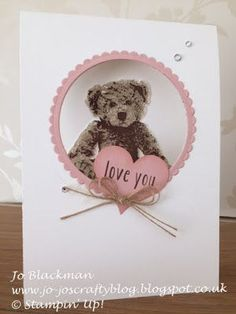 stampin up baby bear card ideas Baby Shower Cards, Baby Cards, Kids Cards, Bear Card, Stamping Up Cards, Baby Kind, Love Cards, Valentine Day Cards, Anniversary Cards