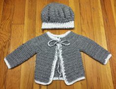 Crochet Baby Cardigan and Matching Hat by CozyCuteCreations
