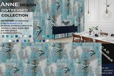 Glass mosaic mural rendering from New DISTRESSED Collection by tramontanamosaico