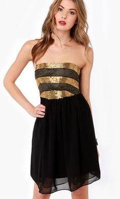 Sophisticated Siren | Spot Pop Fashion  On the Glam Beaded Strapless Black Dress
