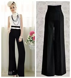 With belt Free Shipping 2014 women's fashion black high waist wide leg flare pants long trousers OL work office business pants