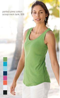 Perfect pima cotton scoop-neck tank | www.jjill.com