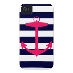 Pink Anchor Silhouette iPhone 4 Case-Mate Case.  $44.95