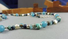 Blue Green Necklace with African Turquoise and Lapislazuli