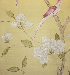 Eleonora Silk Fabric  A beautiful woven silk inspired by eighteenth century Swedish design, of frail branches with green leaves and white flowers, deep raspberry birds and  on a gold background.