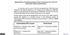 Applicability of The Companies Act 2013 - November 2014 CA Exams