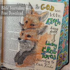 Bible Journaling Freebie - Genesis 1:24 - Living Creatures ~ Tiffany Doodles Digital Stamps
