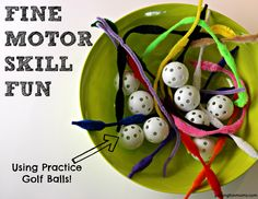 Here's a fun Fine Motor Activity - using practice golf balls! So easy, cheap and FUN!! Follow the link to watch the cool video!