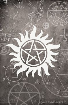 Supernatural Symbol Poster - 11 x 17 Glossy Cardstock - Anti-Possession sign Winchester Dean Sam Castiel