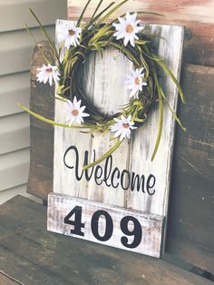 Front porch Decor Front porch Sign Front Porch Welcome Sign Address Plaque Front Porch wreath Porch Sign House Numbers Front Door Welcome Signs Front Door, Front Porch Signs, Front Door Decor, Front Porches, Front Porch Flowers, Diy Front Porch Ideas, Entryway Decor, Diy Signs, Home Signs
