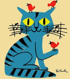 Paul Thurlby music cat birds illustration