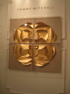 Gilded flower art from Tommy Mitchell Metal Art Sculpture, Wall Sculptures, Artwork Design, Wall Design, Gold Leaf Art, Wall Installation, Contemporary Artwork, Poster Wall, Metal Wall Art