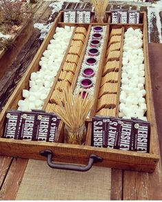 Extra Large Rustic Wood S'mores Station, S'mores Bar, Party Station, Wedding S'mores Roasting Statio Extra Large Rustic Wood S'mores Station S'mores Bar Party Stations, Wedding Food Stations, Party Planning, Wedding Planning, S'mores Bar, Partys, Grad Parties, Outdoor Graduation Parties, Graduation Party Foods