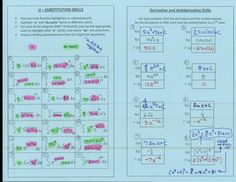 "U-Substitution Drills (highlight the ""u"" and ""du"") ad Derivative/Antiderivative… Calculus Notes, Ap Calculus, Algebra 2, Math Teacher, Math Classroom, Teaching Math, Teacher Stuff, Teaching Ideas, Algebra Activities"
