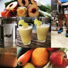 Morning breakfast with centrifugal fruit and vegetables.   - sedano - finocchio - carota - pesca - limone - arancia - cetriolo