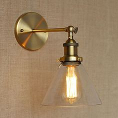 Golden Vintage Wall Lamp Lights With Glass Lampshade In Loft Industrial Style Arandela Lampara Pared Edison Wall Sconce. Wall Lights, Glass Lamp Shade, Wall Mount Light Fixture, Industrial Wall Lamp, Led Wall Lights, Wall Light Fixtures Sconces, Clear Glass Lamps, Industrial Style Wall Lights, Wall Lamp Shades