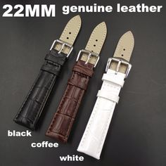 1PCS High quality 22MM genuine cow leather Watch band watch strap coffee,black,white color available -WB0010 #Affiliate