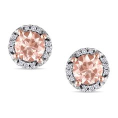 Miadora Rose-plated Silver Morganite and Diamond Accent Earrings