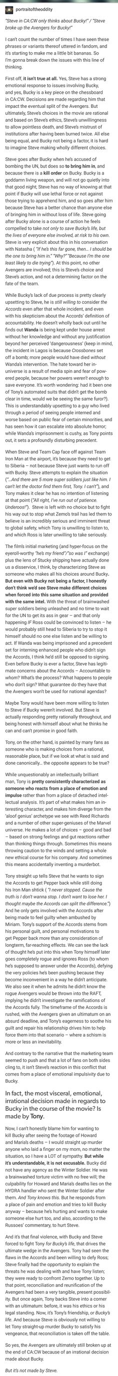 The most visceral, emotional, irrational decision made in regards to Bucky... is made by Tony.