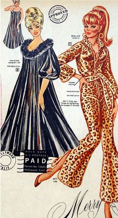 Fredericks of Hollywood Xmas 1967 leopard pajamas color illustration photo print ad (Hey, it's Peg Bundy! Vintage Lingerie, Vintage Glamour, Vintage Advertisements, Vintage Ads, Print Advertising, Advertising Campaign, Print Ads, 1960s Fashion, Vintage Fashion